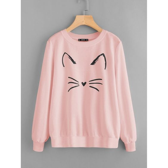 Cartoon Cat Print Sweatshirt VL01