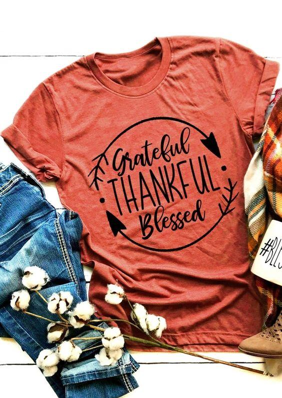 Grateful Thankful Blessed T-Shirt VL01