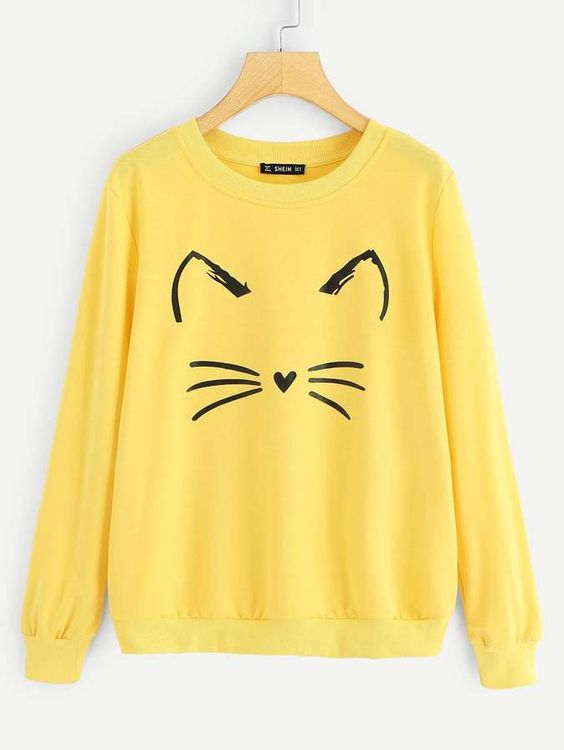 Shein Cartoon Cat Print Sweatshirt VL01