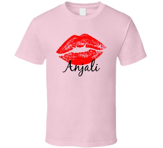 Anjali Personalized Name Lips Kiss T-shirt ER01