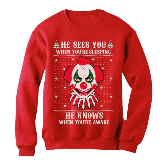 Christmas Evil Scary Killer Clown Joker Sweatshirt FD01