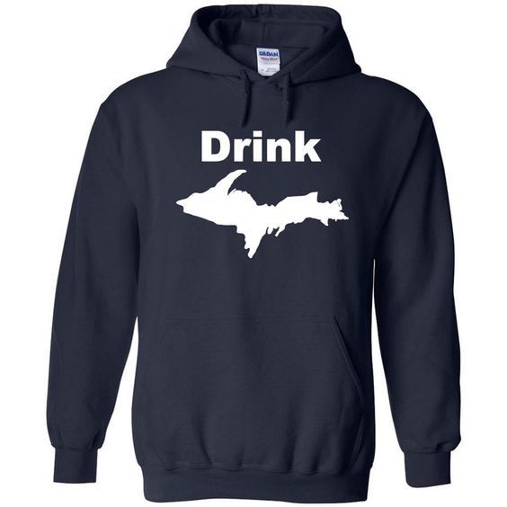 Drink Michigan White Figure Hoodie DV01