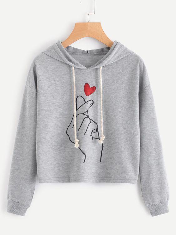 Love Gesture Crop Marled Figure Hoodie DV01