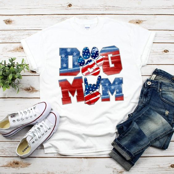 Patriotic Dog Mom T-Shirt VL01