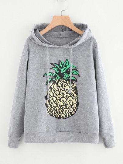 Pineapple Print Hoodie VL29