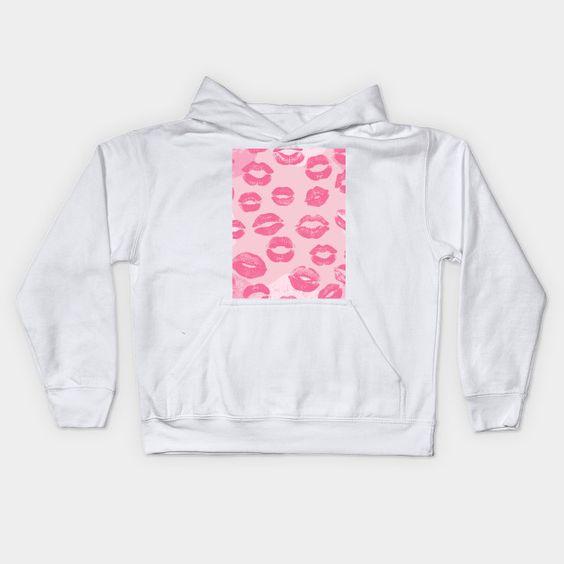 Pink Lip Kisses Print Hoodie ER01