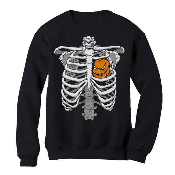 Skeleton Pumpkin Heart Sweatshirt EL01