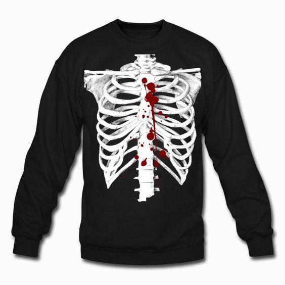Skeleton with blood Sweatshirt EL01