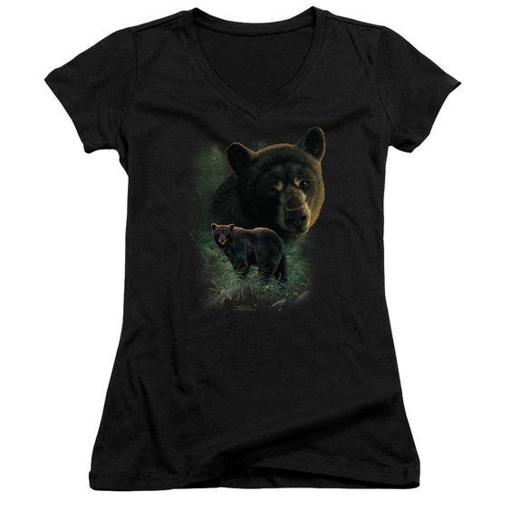 Wildlife Black Bears Juniors V-Neck T-Shirt DV01