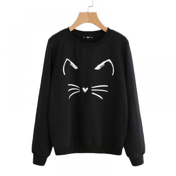 Women cat printed Vneck Sweatshirt DV01