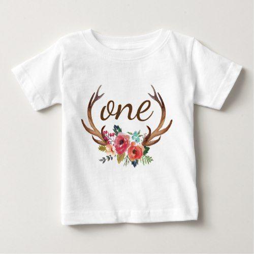 Birthday Floral Deer Horn T-Shirt ER1N