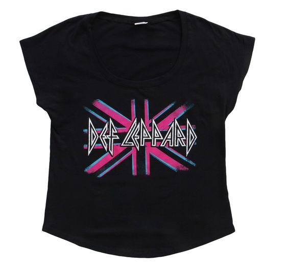 Womens Def Leppard Pink Tshirt FD26N