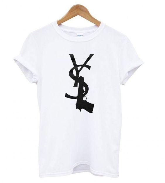 t Laurent white gun T -shirt ER28N