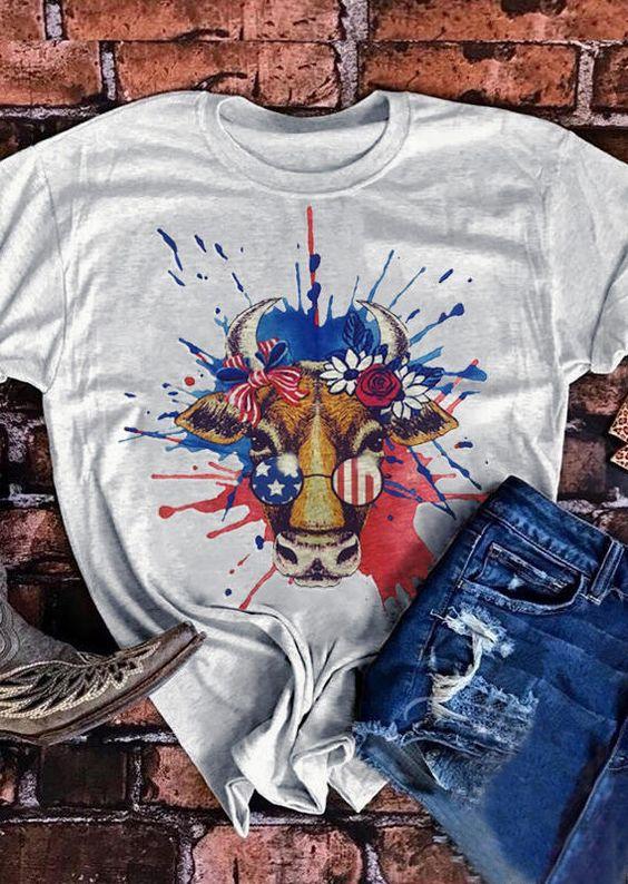 American Flag Bull's T-Shirt EM3D