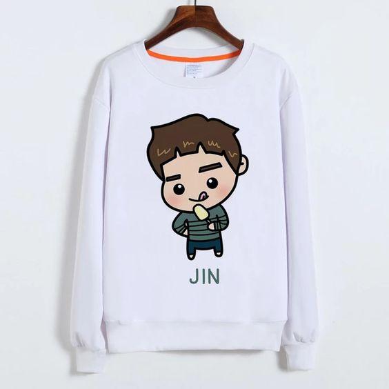 BTS White Sweatshirt D4AZ