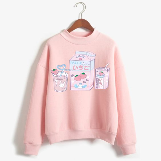 Cute Milk Print Pink Sweatshirt VL5D