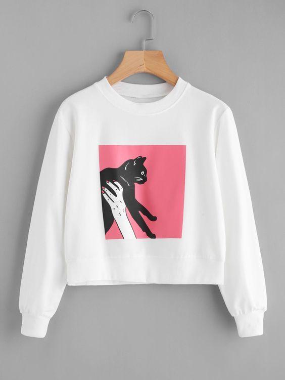 Figure Cat Sweatshirt D4AZ
