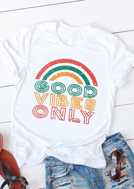 Good Vibes Only Rainbow T-Shirt FD20D