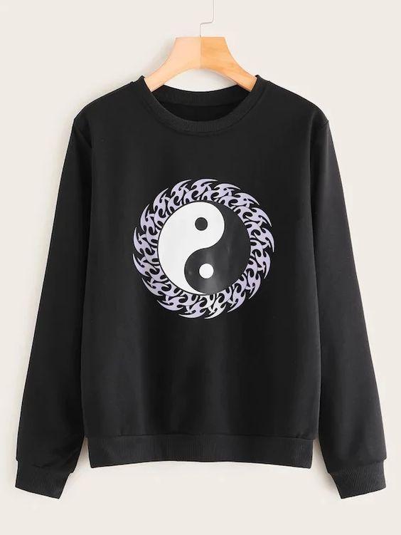 Tai Chi Print Round Sweatshirt VL5D