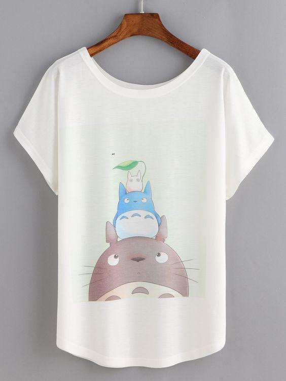 White TOtoro T-shirt ER3D