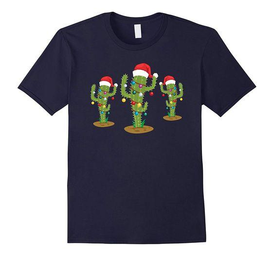 Womens Christmas Lights Cactus T Shirt ER6D
