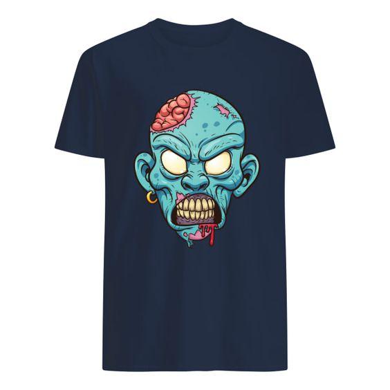 zombie head Halloween T Shirt ER3D