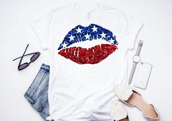 American Flag Lips T-Shirt ND27J0
