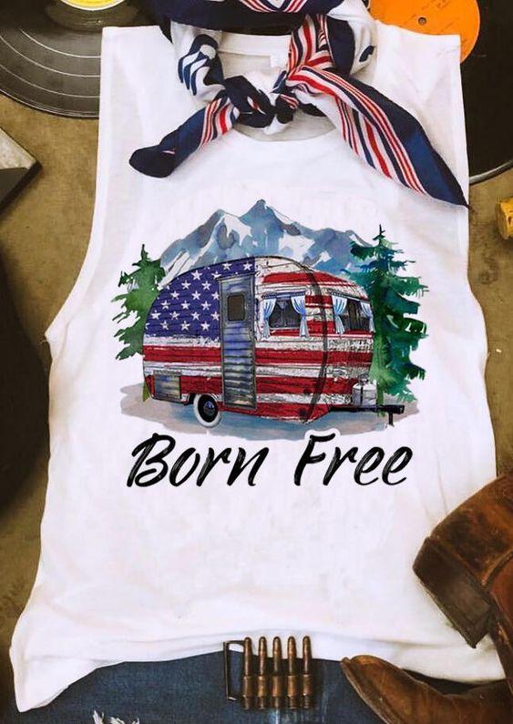 Born Free American Flag Tanktop Fd28J0