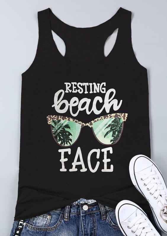 Resting Beach Face Tanktop Fd28J0