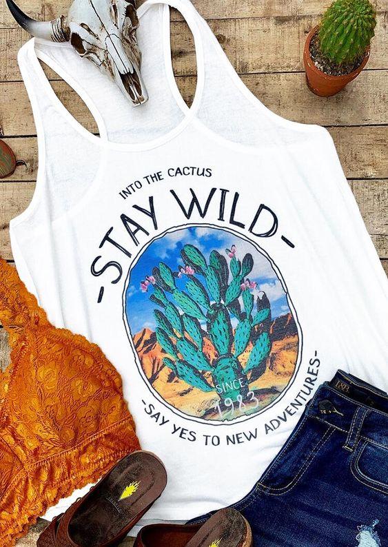 Stay Wild Cactus Tanktop Fd28J0