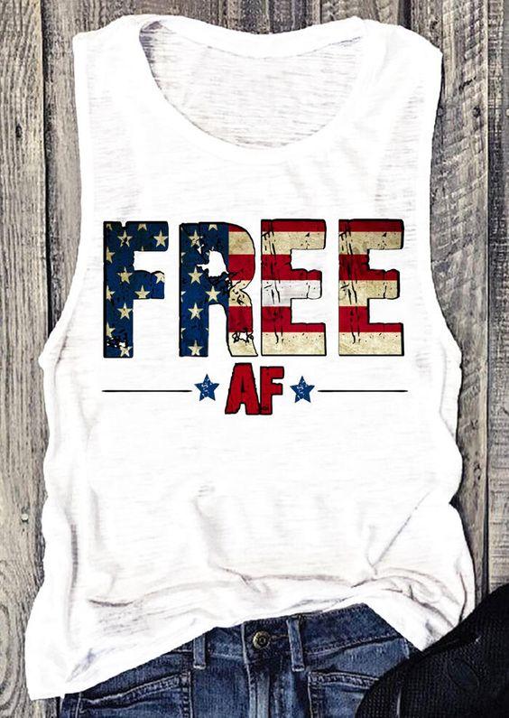 Free American Flag Tanktop DF3M0
