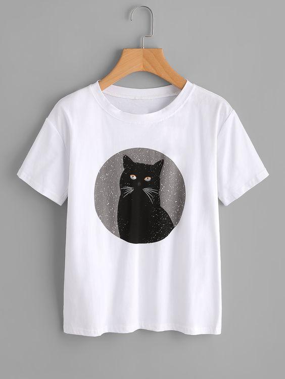 Black Cat tshirt YT13A0