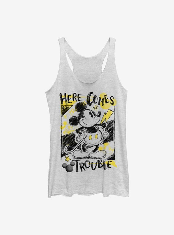 Disney Mickey Mouse Trouble Comes Girls Tank-Top AG18F1