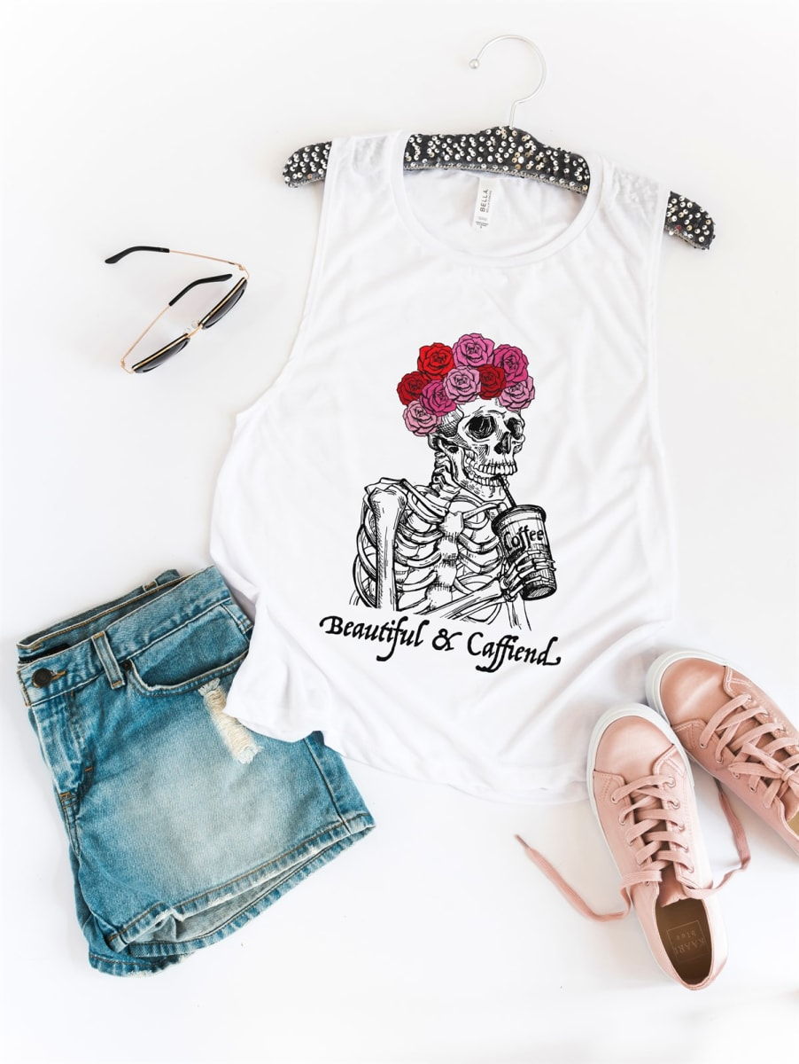 Beautiful And Caffind Tank Top EL21A1